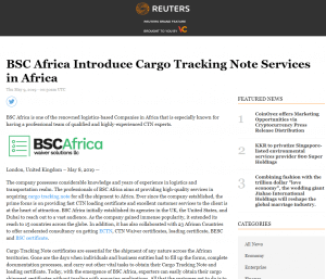 BSCAfrica On Reuters Press